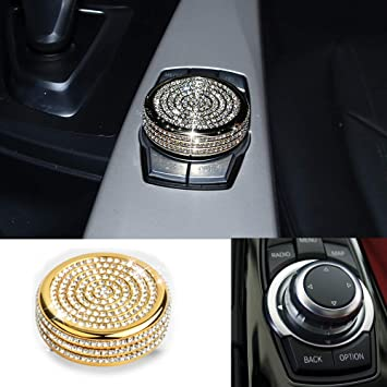 Kingze for BMW 1 2 3 5 7 Series Crystal Bling Multi-Media Control Knob Cover Decal Sticker Diamond Trim for BMW X1 X3 X5 X6 Center Console Interior Switches Cover