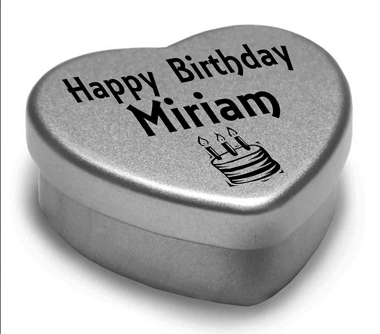 Happy Birthday Miriam Mini Heart Tin Gift Present For Miriam WIth Chocolates