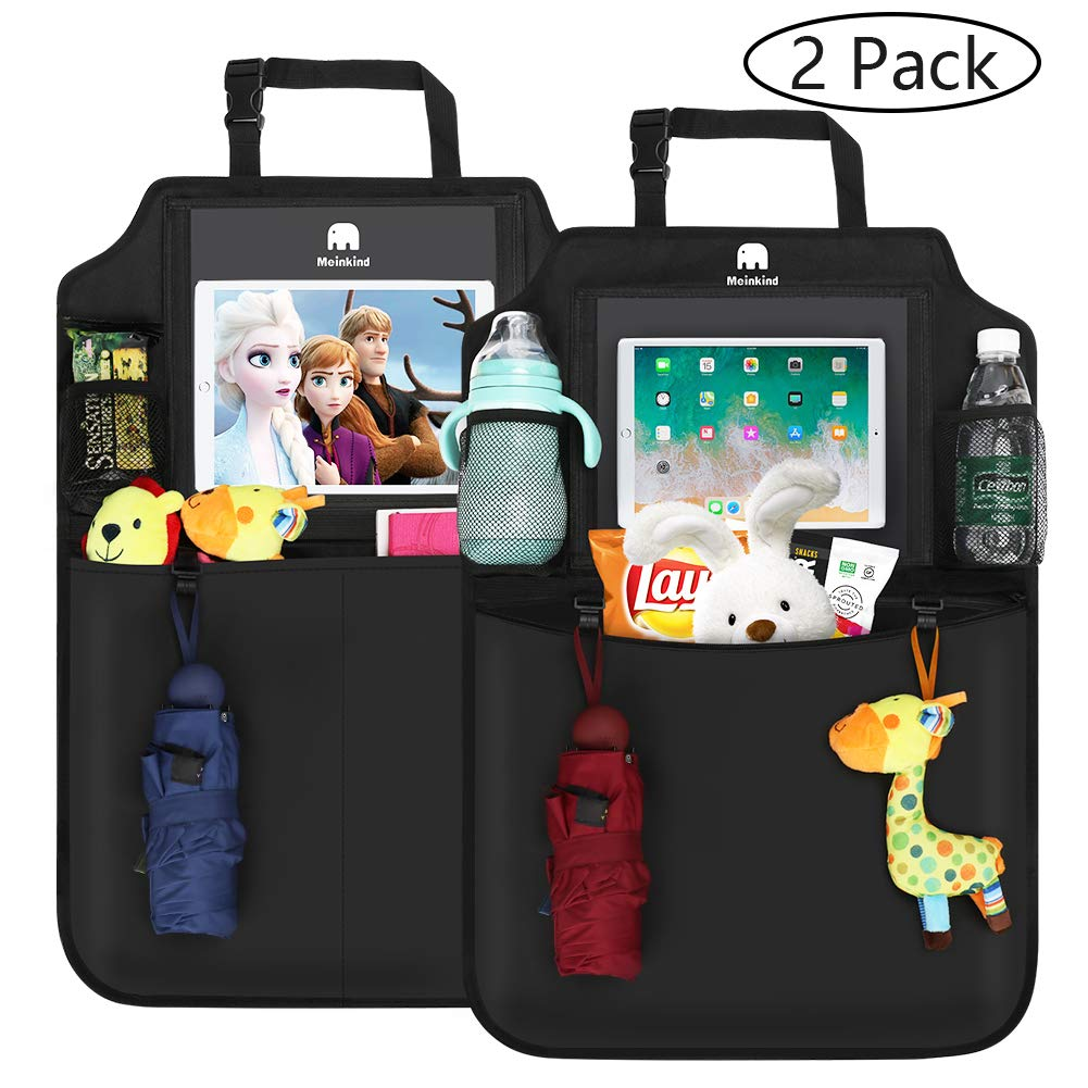 Meinkind Car Backseat Organizers Kick Mats with 10'' iPad Touch Screen Tablet Holder + 6 Storage Pockets Car Seat Back Protectors Travel Accessories Toy Storage Bag for Kids & Toddlers (2 Pack) by Meinkind