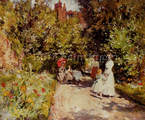 SYMONS WILLIAM CHRISTIAN HIGH TEA WALLED GARDEN ARTIST PAINTING OIL CANVAS REPRO 16x20inch MUSEUM QUALITY by Elite-Paintings