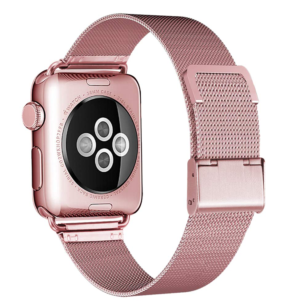 HILIMNY Compatible for Apple Watch Band 38mm 40mm, Stainless Steel Mesh Sport Wristband Loop with Adjustable Magnet Clasp for iWatch Series 1/2 / 3/4, Rose Gold by HILIMNY