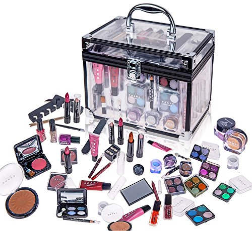 SHANY Carry All Trunk Professional Makeup Kit - Eyeshadow,Pedicure,manicure With Black Trim Clear Case ()