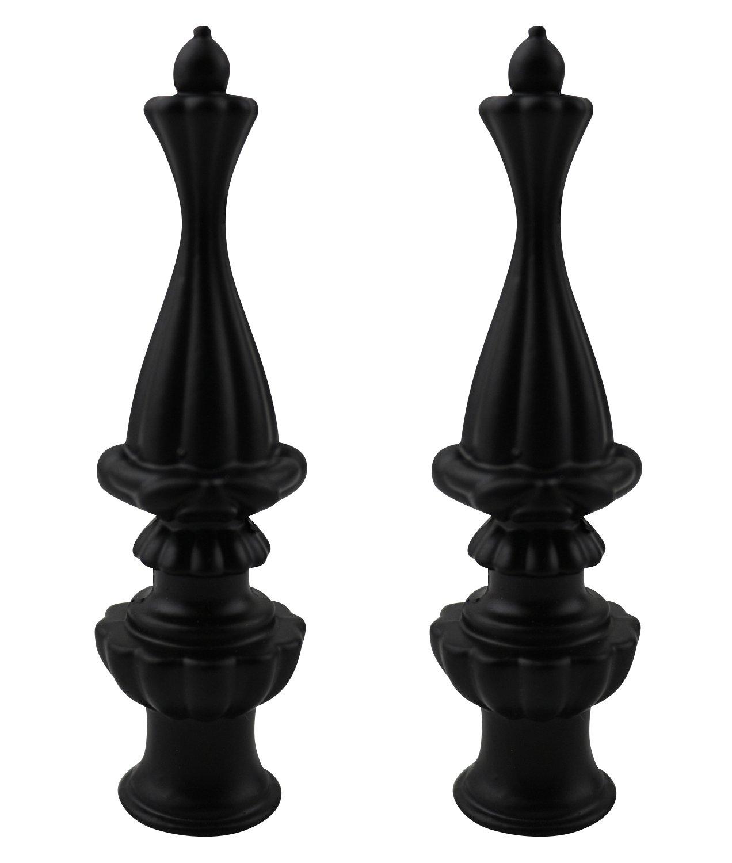 Urbanest Set of 2 Walton Lamp Finial, 3 3/8-inch Tall, Matte Black