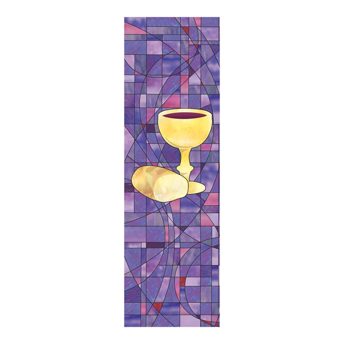 Stained Glass Communion Chalice and Bread Church Decor Banner with Pole Hem, 6 Feet