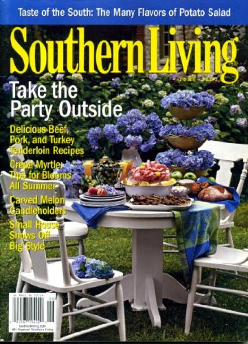 Southern Living June 2002 Take the Party Outside, Beef Pork & Turkey Tenderloin Recipes, Crepe Myrtle Tips, Carved Melon Candleholders, Small House - Big Style, Many Flavors of Potato Salad, Snowbird Mountain Lodge