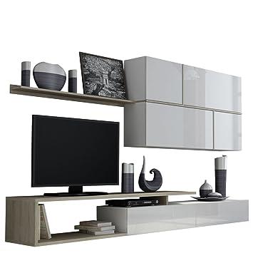 Wohnwand Goya, TV Lowboard, Hängeschrank, Wandregal, Design Mediawand,  Modernes Wohnzimmer Set