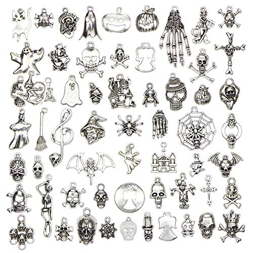 Halloween Charms - 60 pcs Mix Antique Silver Halloween Collection Craft Supplies Skull Skeleton Charms Pendants for Crafting, Jewelry Findings Making Accessory for DIY Necklace Bracelet -