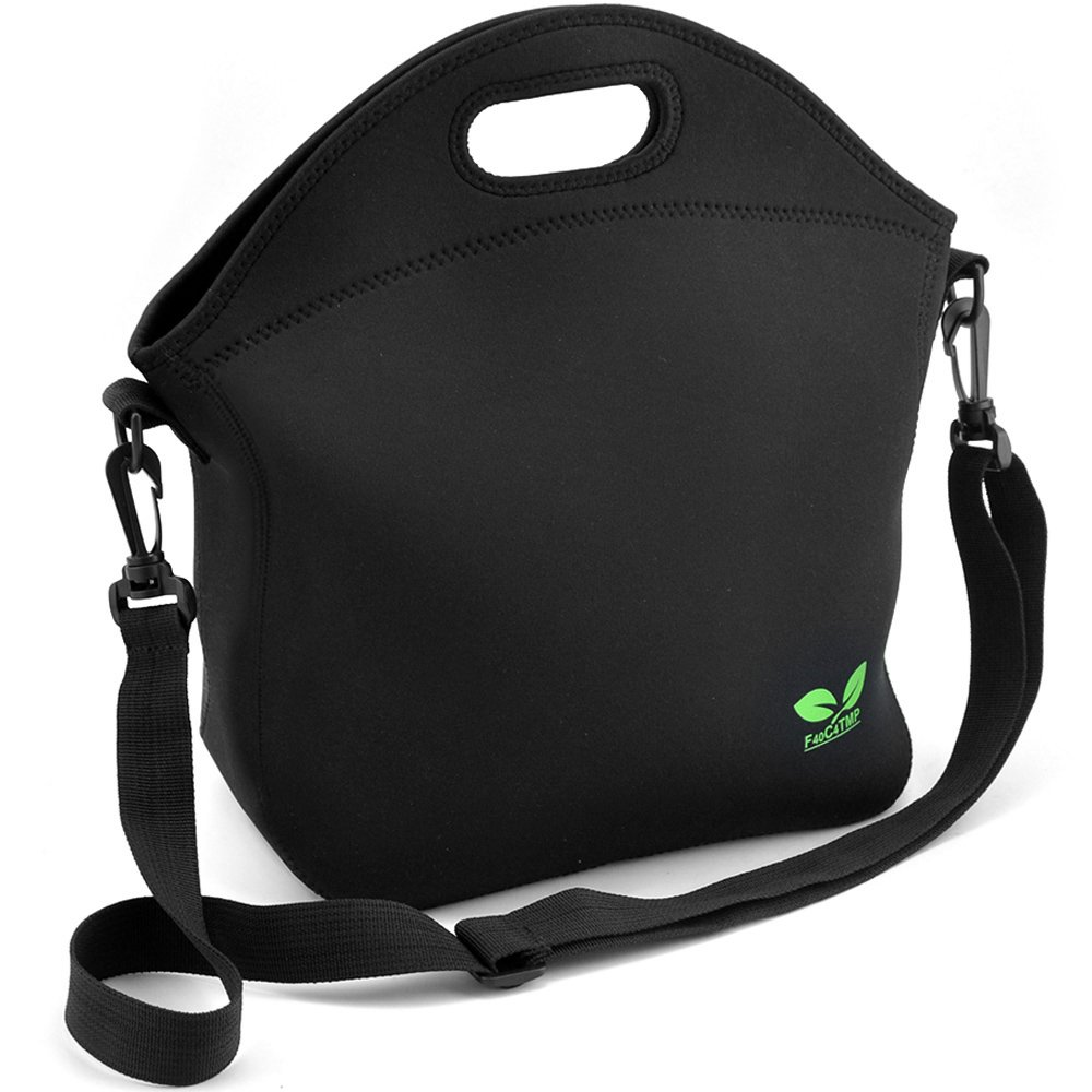 Neoprene Lunch Tote Washable Lunchbox Bag, Non-toxic Insulated Lunch Bag with Shoulder Strap Extra Pocket (Black N2) for School Office Picnic Gym, by F40C4TMP