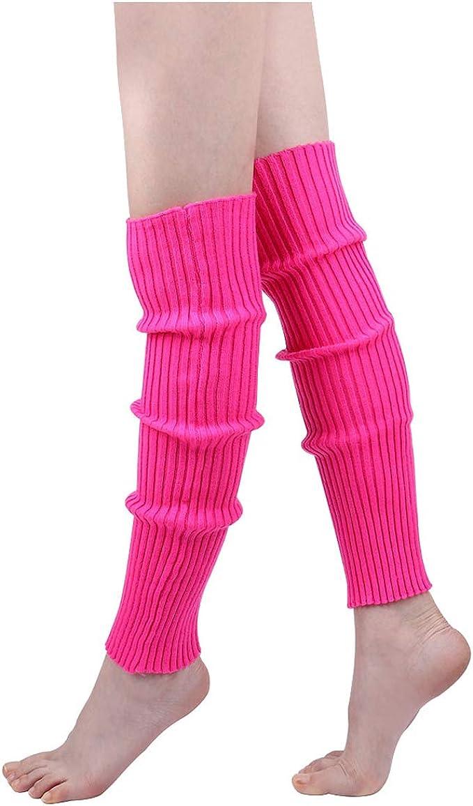 Amazon.com: Calentadores de pierna acanalados para mujer de ...