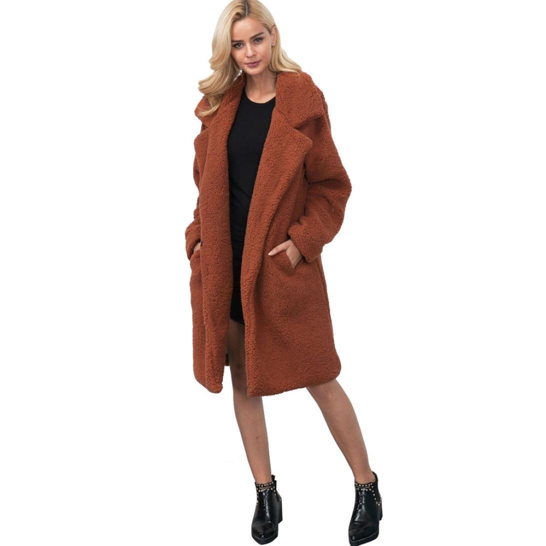 Sunward Apparel Womens Fuzzy Faux Lamb Fur Coat Long Jacket Notched Lapel Mid Long Coat 54sgvd