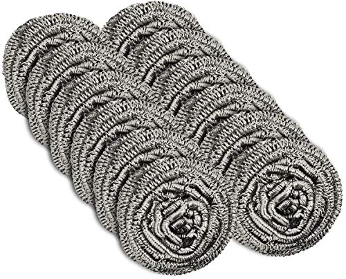 12 Pack Stainless Steel Scourers by Scrub It - Steel Wool Scrubber Pad used for Dishes, Pots, Pans, and Ovens. Easy scouring for Tough Kitchen - Scouring Stainless Steel Sponge