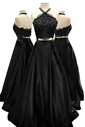 f1a75b0473eb8 Yangprom Long Halter Beaded Lace Prom Dress Black Two-Piece Satin Evening  Gown at Amazon Women's Clothing store: