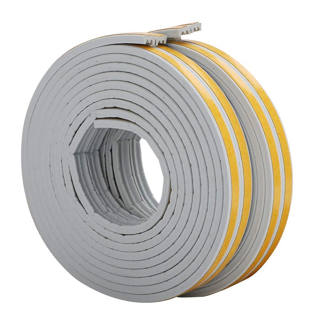 Bande de Joint E-Profil Imperm/éable Joint de porte en mousse Bande de joint d/étanch/éit/é en caoutchouc pour Fen/être//Porte-9mm x 4mm x 2.5m,4 joints Total 10M Anticollision Auto-Adh/ésif Marron