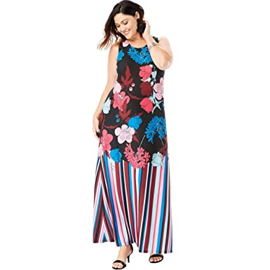 51fc80840c7 Roamans Women s Plus Size Print Maxi Dress - Multi Graphic Floral Print