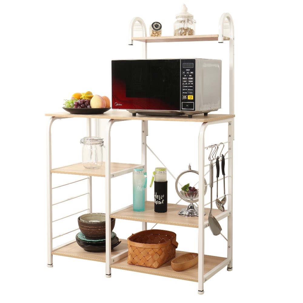 SogesPower Kitchen Baker's Rack 3-Tier+4-Tier Microwave Stand Storage Rack, White Maple by SogesPower