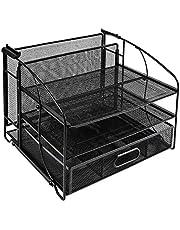 Amazon Basics Desk Organizer 3 Tray w/Sliding Drawer and Hanging File Holder, Black photo
