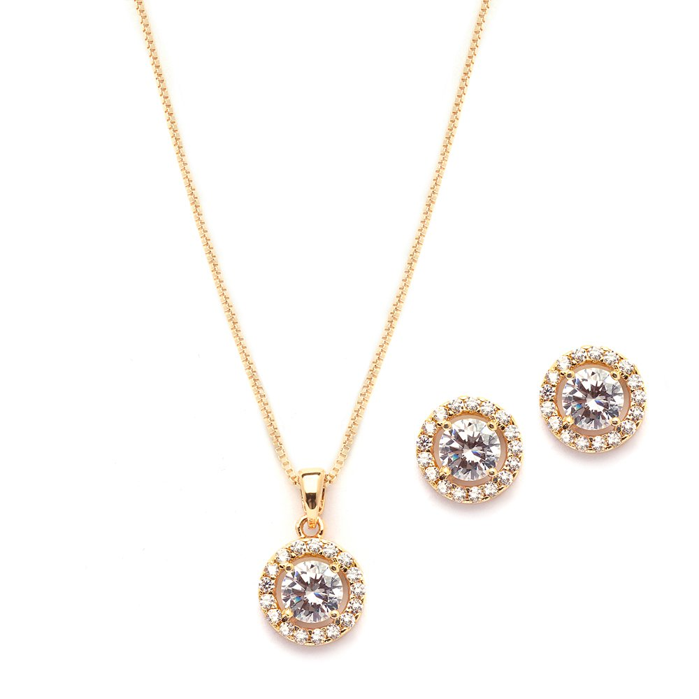 Mariell Ultra Dainty 10.5mm Cubic Zirconia Round Halo Necklace and Stud Earrings Set Plated in 14K Gold