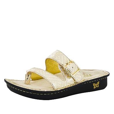 e6a80e0bbe36dc Alegria Womens Valentina Thong Sandal Gold Dazzler Size 35 EU (5-5.5 M US