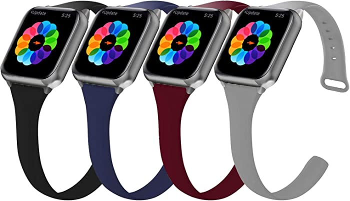 4 Pack Silicone Band Compatible with Apple Watch Bands 38mm 40mm, Silicone Sport Watchband Women Men for iWatch Series SE/6/5/4/3/2/1 Band (Black/Midnight Blue/Grey/Wine Red, 38mm 40mm)