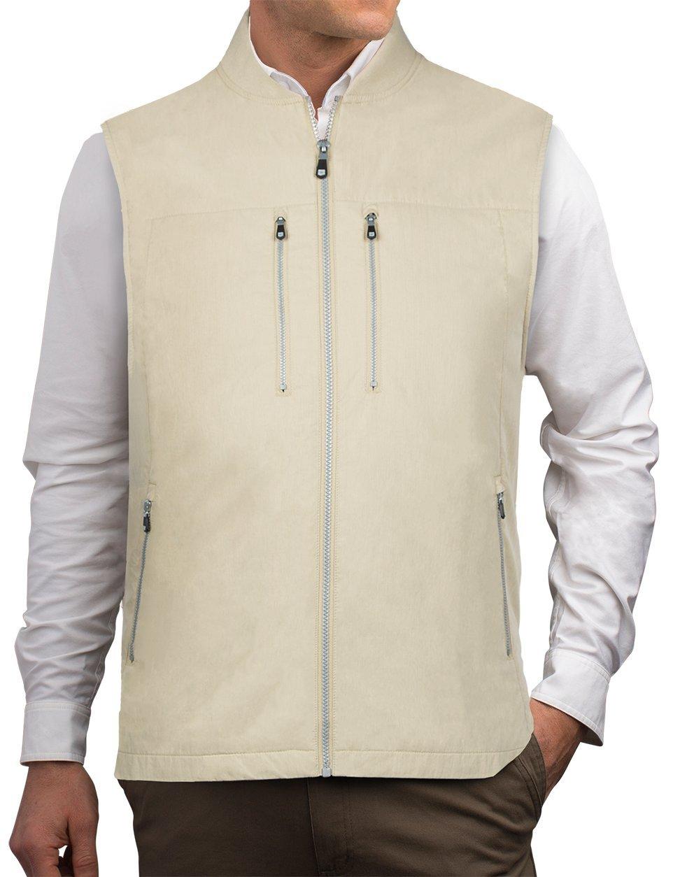 SCOTTeVEST 101 Vest-Men's - 9 Pockets, Travel Clothing, KHA, M