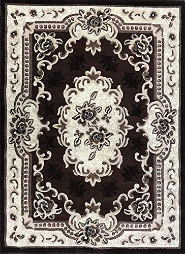 emirates Traditional Floral Aubusson Rug Brown Black Beige Ivory Design 507 (4 Feet X 5 Feet 9 Inch)