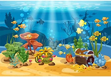 10x7ft Cartoon Underwater Sea View Backdrop Vinyl Undersea World Background Tropical Fishes Coral Reefs Seaweed Abstract Couple Whales Aquarium Wall Decor Diving Photo Kids Birthday Party