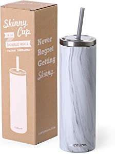 Cupture Stainless Steel Skinny Insulated Tumbler Cup with Lid and Reusable Straw - 16 oz (White Marble)