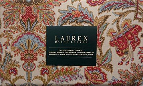 Lauren Ralph Lauren 3 Piece Full / Queen Duvet Cover Set Jacobean Floral Pattern in Red, Gold, Olive Green and Blue on Beige (Lauren Set Duvet Ralph)