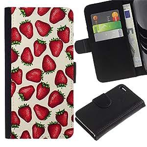 All Phone Most Case / Oferta Especial Cáscara Funda de cuero Monedero Cubierta de proteccion Caso / Wallet Case for Apple Iphone 4 / 4S // Strawberries Love Berries Summer Red