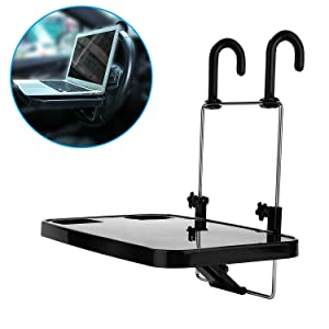 Xindell Portable Hanging Laptop Trays Auto Lunch Desk Steering Wheel Mate Foldable Vehicle Back Seat Table for Food Drink Notebook Cup Holder (Black)