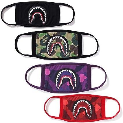 e0ea9a54 Amazon.com: 4 Pcak Shark Face Mask Bape Cotton Fashion Anti-dust Half Face  Mouth Masks: Sports & Outdoors