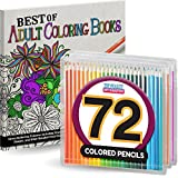 Adult Coloring Book Set (72 COLORED PENCILS INCLUDED) - Perfect for Men, Women, and Children - Stress Relieving Patterns, Animals, Mandalas, and More
