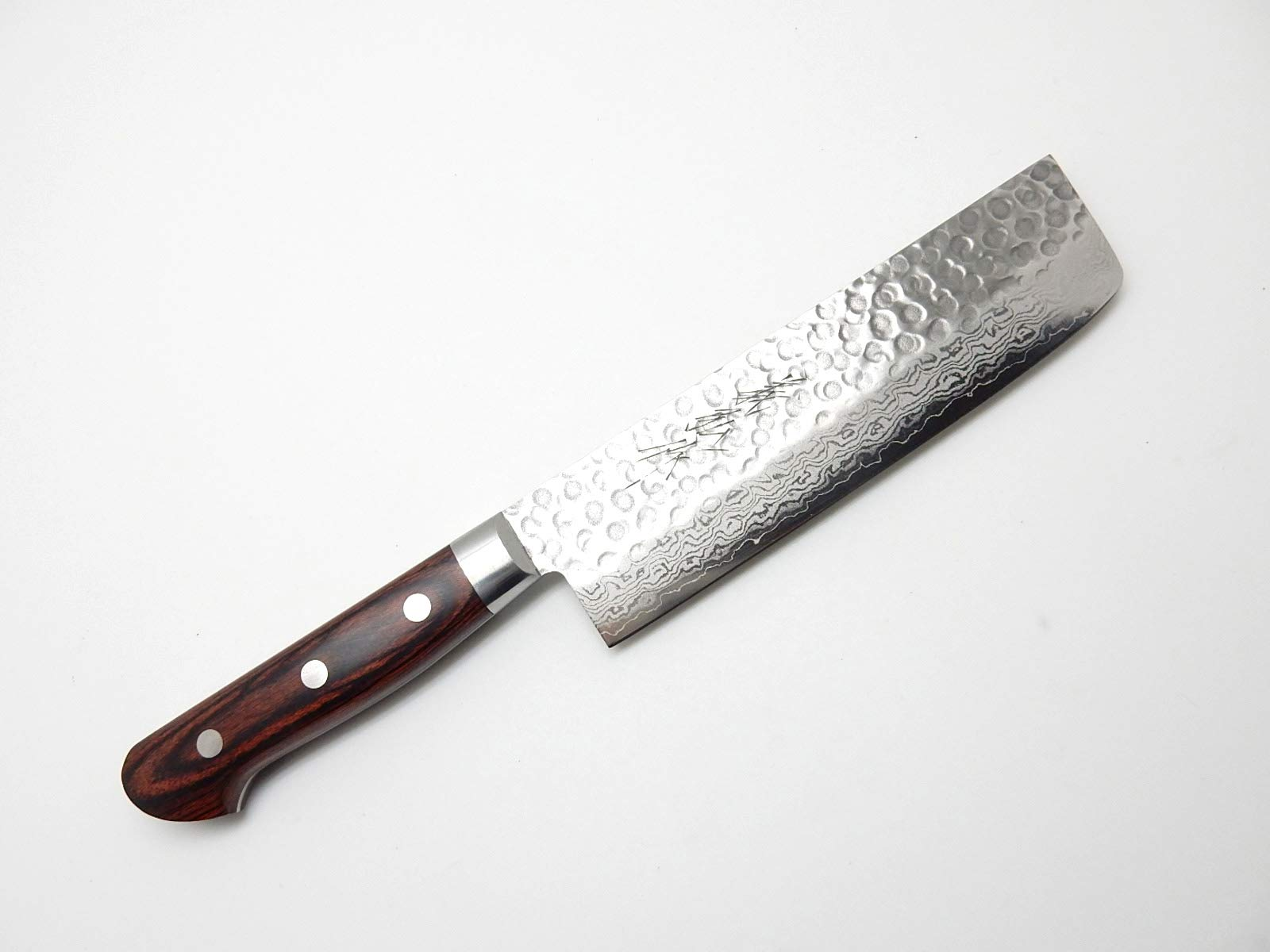 Yoshihiro VG-10 Hammered Damascus, HAA Japanese Chef's Nakiri(Vegetable)Knife Mahogany Handle 160mm/6.3''