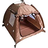 OLizee Breathable Washable Pet Puppy Kennel Dog Cat Folding Indoor Outdoor House Bed Tent (M, Coffee)