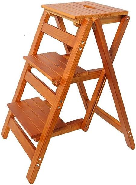 Escalera de Madera Escalera de Madera Maciza Silla Escalera de Madera Multifuncional Silla Escalera Plegable con 3 Pasos para la decoración del hogar y Biblioteca (Color: Color de la Madera) Carga m:
