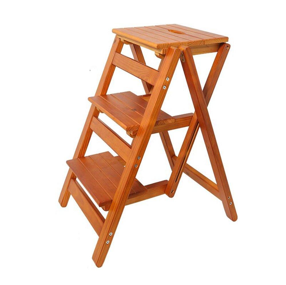 ステップスツール ソリッドウッドのはしごの椅子多機能の木製のはしごの椅子ホームデコレーションと図書館のための3つのステップを持つ折りたたみ可能なシェルフのはしご 150kg容量 (色 : #1) B07K1QW2M8 #1