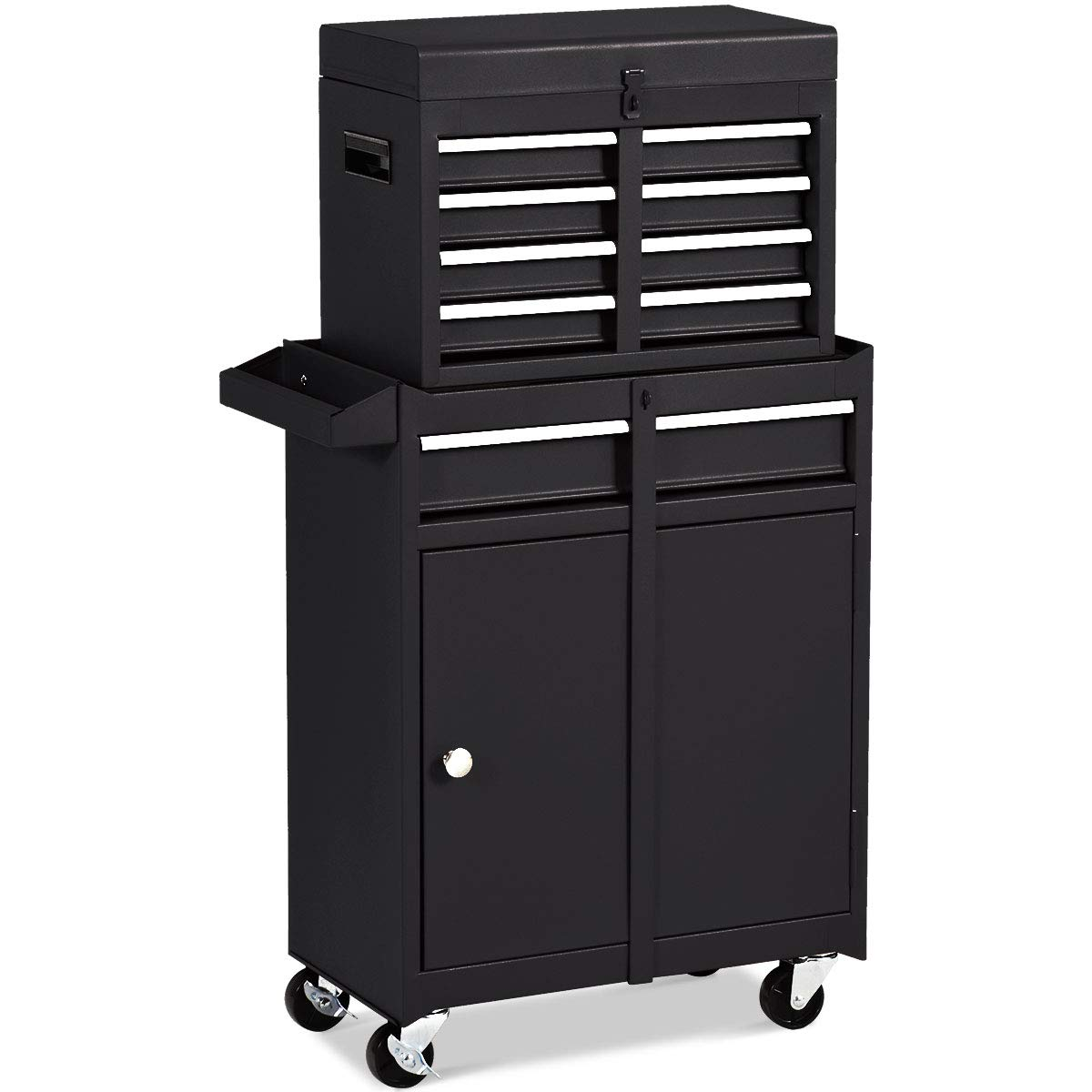 Goplus 5-Drawer Rolling Tool Chest, Tool Storage Box, Removable Tool Cabinet, Sliding Metal Organizer w/Lockable Drawers (Classic Black) by Goplus