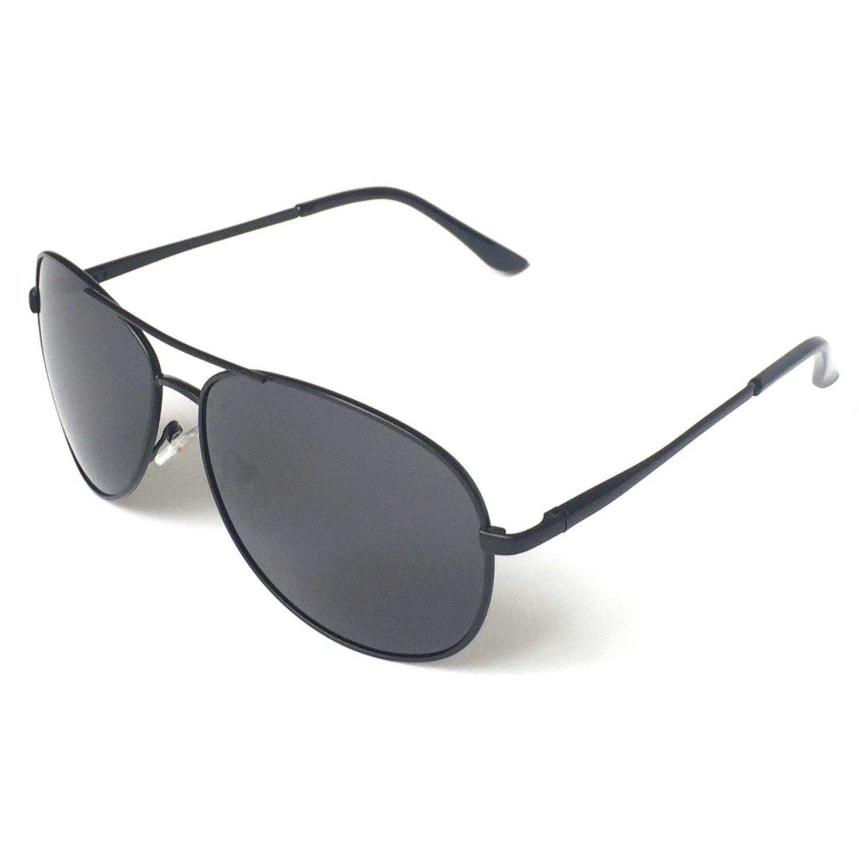 J+S Premium Military Style Classic Aviator Sunglasses, Polarized, 100% UV protection (Medium Frame - Black Frame/Gray Lens)