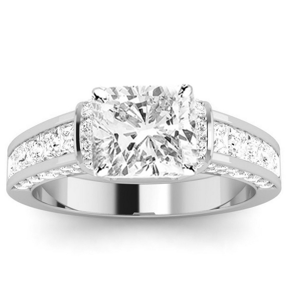 1.4 Cttw 14K White Gold Cushion Cut Contemporary Channel Set Princess And Pave Round Cut Diamond Engagement Ring with a 0.5 Carat I-J Color SI2-I1 Clarity Center