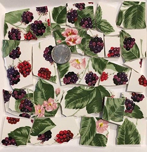 Mosaic Tile Art Supply for Mosaics & Crafts ~ Large Blackberry Fruit & Flower Tiles (T#447)