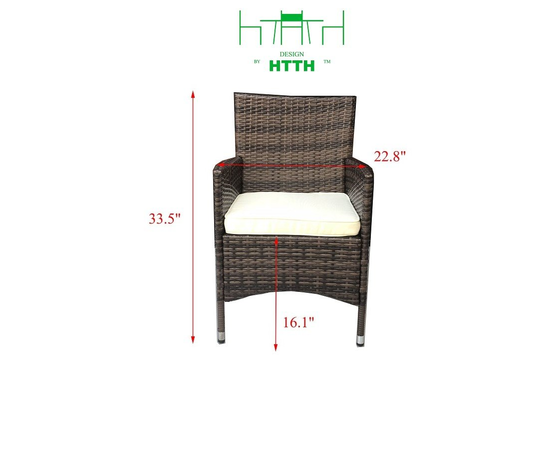 HTTH 2 Pcs Patio Rattan Dining Chairs with Soft Sofa Cushion   Wicker, Outdoor, Backyard, Porch, Garden, Poolside (2 Pcs, Mixed) by HTTH (Image #5)