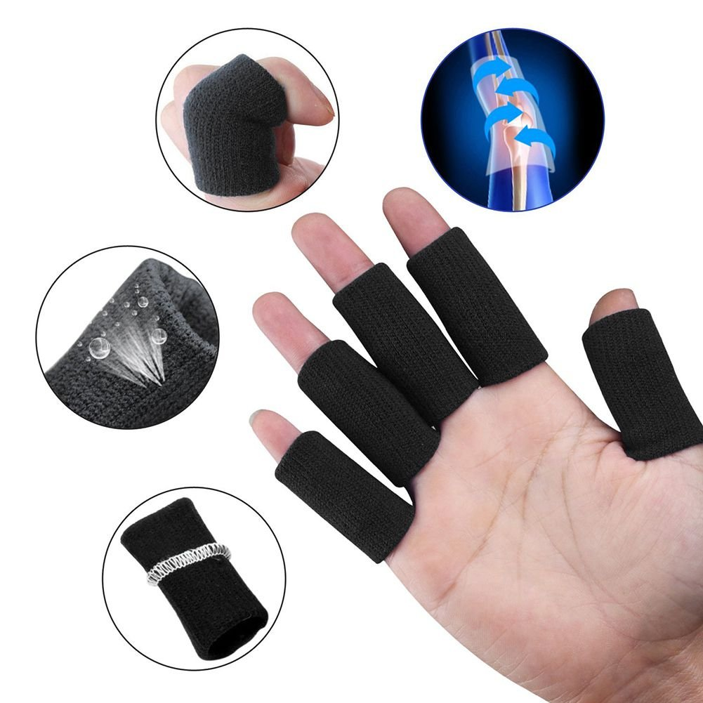 Grofitness 10pc Braided Basketball Finger SleeveThumb Protector Soft Sport Finger Cushion for Weightlifting Exercise Workout