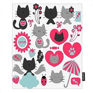 Amazon.com: Moslion Manta de gato con dibujos animados de ...