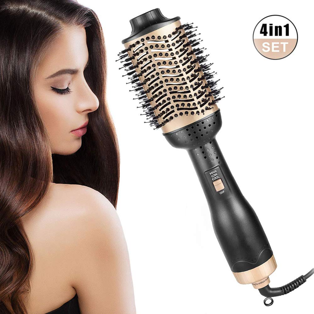 itkidboy Hair Dryer Brush One-Step Hair Dryer Premium Hot Air Brush With Negative Ion Generator 4 in 1 Hot Air Brush with Fast Drying (black&gold) by itkidboy