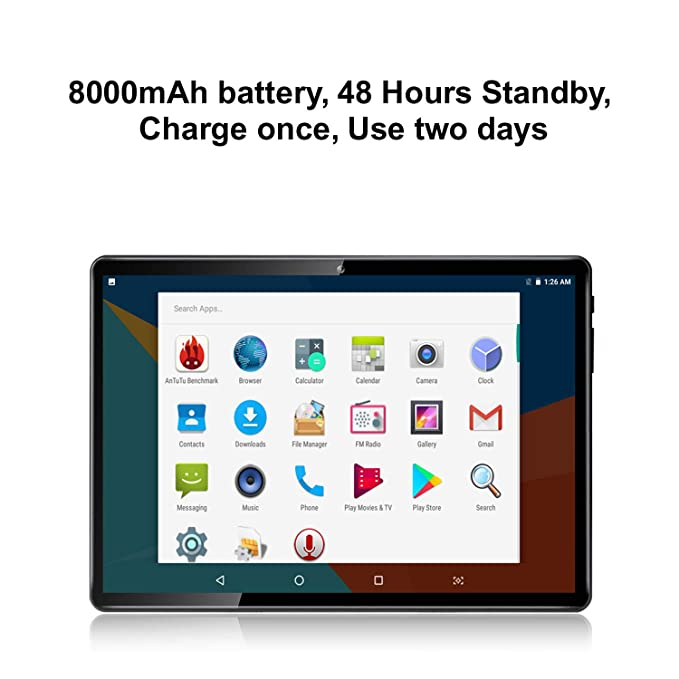 10 Inch Octa Core Tablet,4GB RAM,64GB Disk,1280X800 IPS Screen,8 0MP,Dual  Sim,Wifi,GPS,Tablet For Kids,Android 7 0(Black)