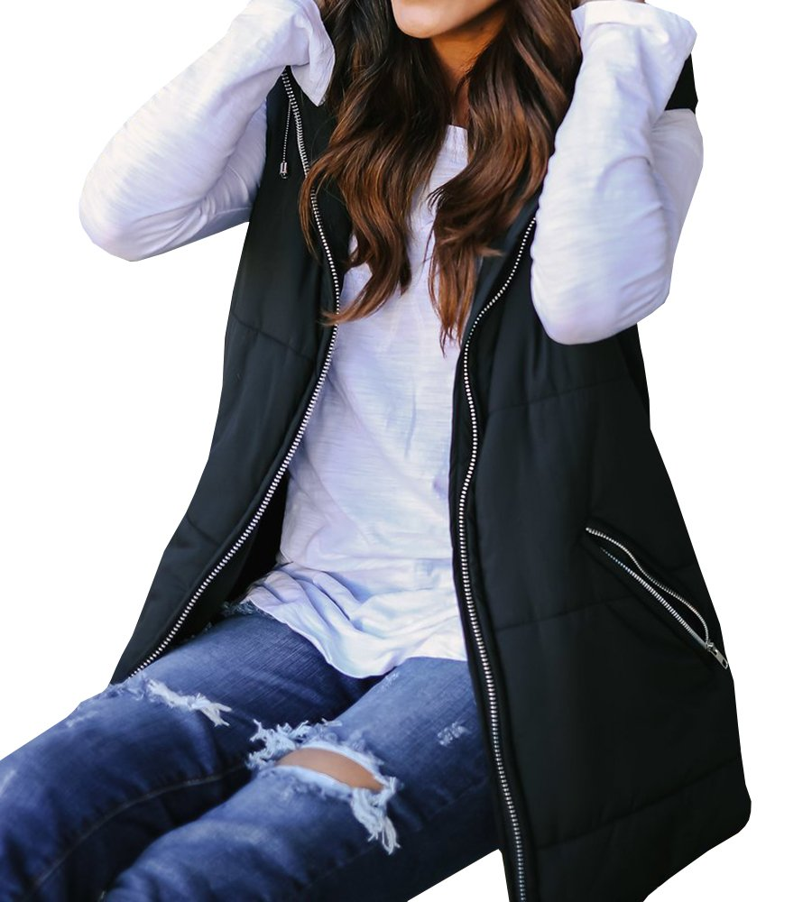 EastLife Womens Down Vest Packable Lightweight Quilted Zip up Outerwear Puffer Vests with Hood,Black,X-Large