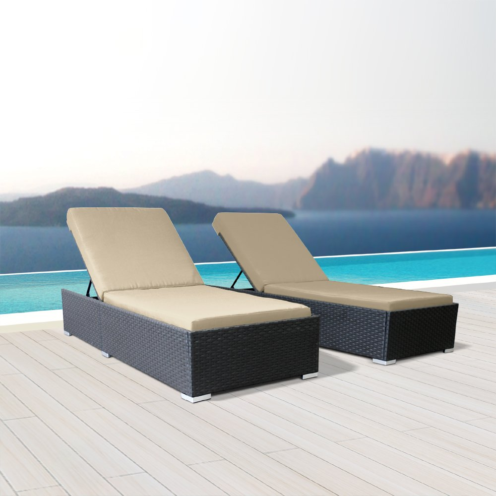 Modenzi 2Pcs Lounger Outdoor Sectional Patio Furniture Espresso Brown Wicker Sofa Set (Light Beige) by Modenzi