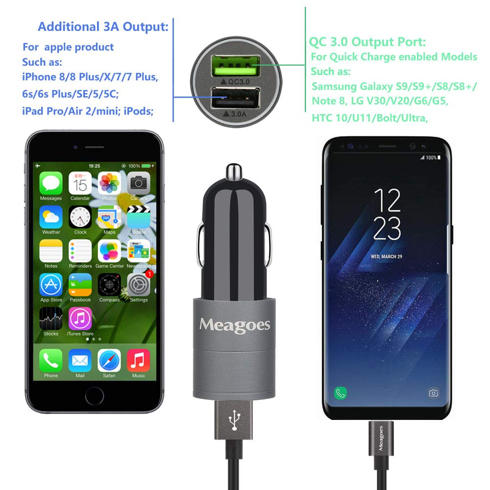Meagoes Fast USB C Car Charger, Compatible for Samsung Galaxy S10 Plus/S10/S10e/S9+/S9/S8+, Note 10 Plus/10/9/8, LG V50 ThinQ/G8/G7/V40, Quick Charge ...
