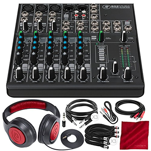 Mackie 802VLZ4, 8-channel Ultra Compact Mixer with Onyx Preamps and Deluxe Accessory Bundle w/Headphones + 8X Cables + Fibertique Cloth