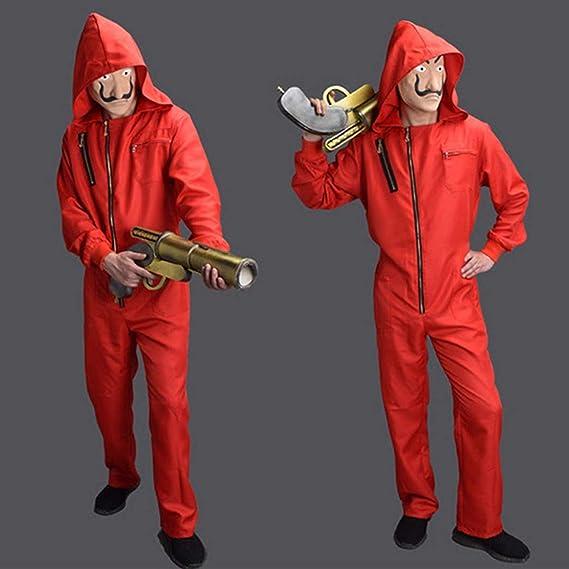Costume di Halloween La Casa De Papel Realistico Film Prop Viso Costume Cosplay Tuta Rossa Abiti di Un Pezzo